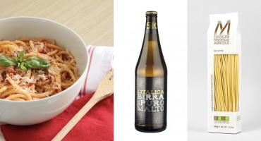 Cuciniamo con la birra L'Italica 5.0 e la pasta Mancini, l'Amatriciana!